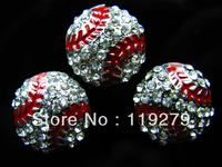 Hot balls !!! 20pcs bling baseballs slide charms fit 8mm belt/wristband/pet collar