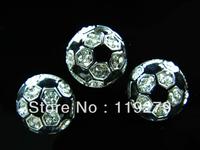 Balls Season! 20pcs bling soccer slide charms fit 8mm belt/wristband/pet collar