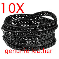 "10pieces wholesale34-36""bracelets for women wrap Bracelet  glass bangle bracelet genuine leather bracelet jewelry QCL237"