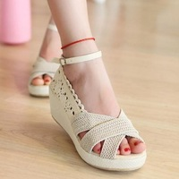 2013 women's shoes breathable linen open toe platform sandals plus size 40 41 42 43 sk45 45
