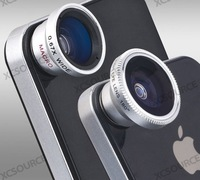 Magnetic 3-In-1 Lens Fisheye Wide-Angle Macro Lens for iPhone 4S 4G i9100 i9300