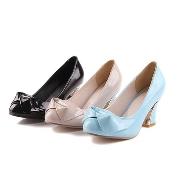 2013 round toe shallow mouth PU high-heeled thick heel bow sweet women's casual fashion shoes 9 - 1