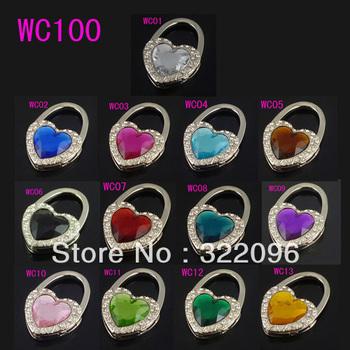 Free shipping High quality fashion heart shape folding bag hooks/bag hanger/purse hangers 24pcs/lot mix colors can be choose