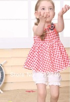 free shipping The summer models girls suspenders plaid shirt + shorts suit