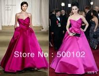 2013 85th Oscar Awards Fan Bingbing Fuschia A line Sweetheart Pleated Evening Dresses