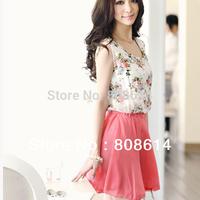 New Arrival  Novel Lady Sleeveless Flower Pattern Chiffon Corset Summer Dresses One Size