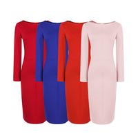 Autumn and winter vintage slim all-match slit neckline basic slim hip plus size knitted pencil skirt fashion one-piece dress
