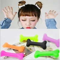Free Shipping HARAJUKU neon color bones hairpin candy color cute hair pin dog bone headband