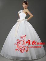 225 vestido de noiva 2014   fashionable sexy beadings bow  white wedding dress    bride bridal gown dresses