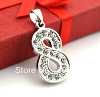 free shipping lovely design number 8  with rhinestone jewelry pendant