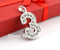 free shipping lovely design number 3 with rhinestone jewelry pendant