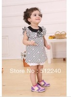 free shipping Korean summer models girls doll collar fly sleeve little dress + bloomers