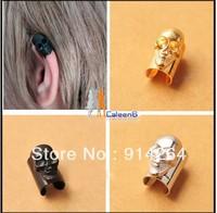 NEW Women Gothic Punk Rock Temptation Metal Skull Heads Ear Cuff Clip Earrings S