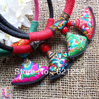 Free shipping: Ethnic Handmade Fabric Nacklace, Hmong Colorful Nacklace, Chinese Style Handicrifts, Personalized Gift