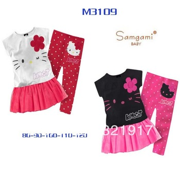 New Arrival 5sets/lot 2013 Summer Cotton Fashion Dress+Pants 2pcs Set Baby Girl Suits Kitty Girl Sets Kids Clothes Kids Wear