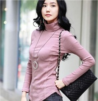 Pretty Women Well Dressed Korea Style Long-Sleeved Turtle Neck Knitting t-Shirt free shipping