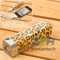 valentines day gift for women Leopard Pattern Emergency Power Bank 2500mAh External Battery for iPhone iPad Samsung Galaxy s2 s3