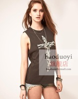 A223 2013 Fashion Womens t shirt UNIF Cross Bones Distressed Jersey Vest Tops for women clothing shirts free shipping