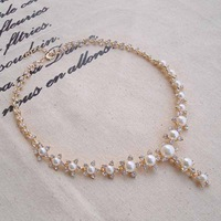 Luxury 3 ladies pearl necklace the bride accessories short design chain necklace