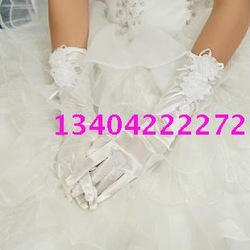 Free postal delivery flowers gloves satin wedding gloves(China (Mainland))