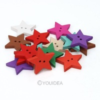 Wholesale - hot sale 200pcs Mixed Star Shaped 2 Hole Wooden Sewing Buttons Scrapbooking 23mm 111634