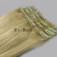 "ZS AAA+ Hot Sell:15""-28"" Indian Virgin Remy Clip Straight Human Hair Extension 75g-140g Platinum Blonde,#60,Free Shipping"