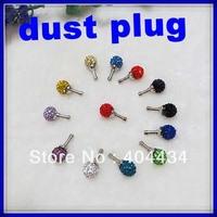 3.5mm earphone jack dust plug diamond crystal headphone dustproof plug mix colors 300pcs/lot DHL free shipping