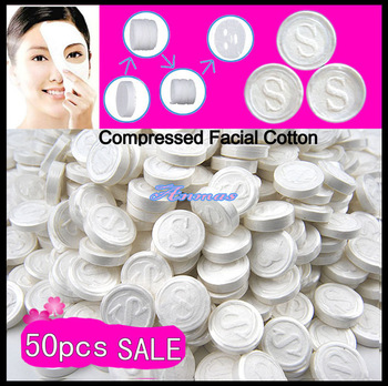 Free Shipping 50 PCS Women's DIY Natural Skin Care Compressed Facial Face Mask Cotton