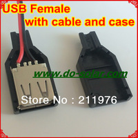 5V USB female with case, 200mm cable for DIY solar panel, mobile charging, solar power system in stock