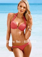 2013 New S M L Swimwear Sexy Beachwear Line Tied at Neck / Back Simple Design Bra with Wire New Style Black Red Bikini Sets