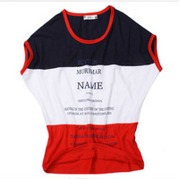 free shipping Hot-selling 2013 colorant match 100% o-neck casual cotton loose short-sleeve T-shirt female