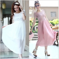 free shipping Plus size clothing 2013 summer mm spring decoration lace chiffon skirt one-piece dress