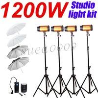 GODOX NEW 1200Ws 4*300Ws 300W Studio Strobe Photo Light with Umbrella 1200W Kit