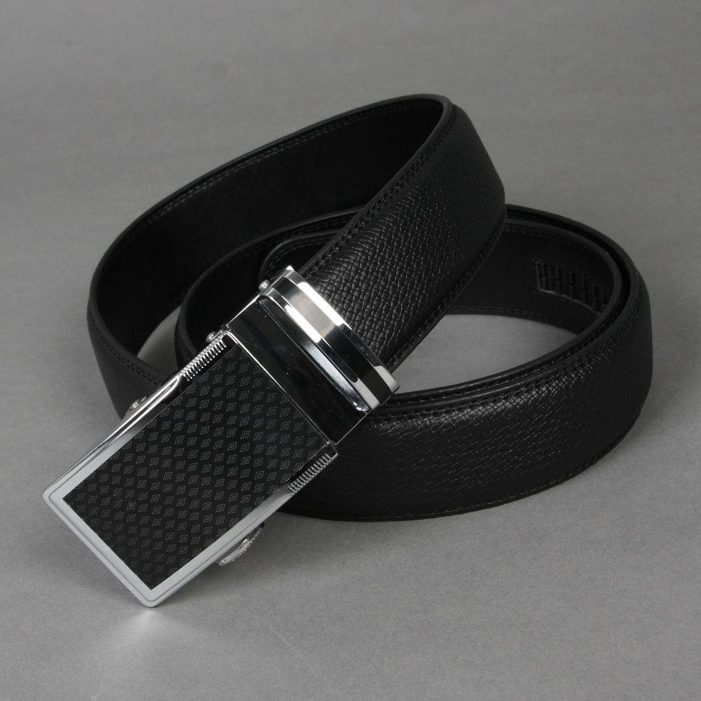 "Free shipping Hot-sale high-quality Men Rhombus Auto Lock Buckle Black Genuine Leather 1.3"" Career Belt cd BT-ML298 oj SM-XXL(China (Mainland))"