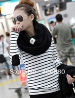Ladies Striped Shirt Sweater Long-sleeve Knitted +free shipping Best selling!