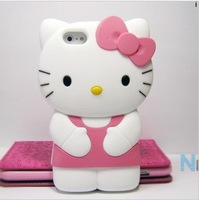 New Arrival! Hot sale! Free Shipping! 3D Hello Kitty Cute TPU Soft Silicone Back Case Cover Skin for iPhone 4 4S 4G Wholesales