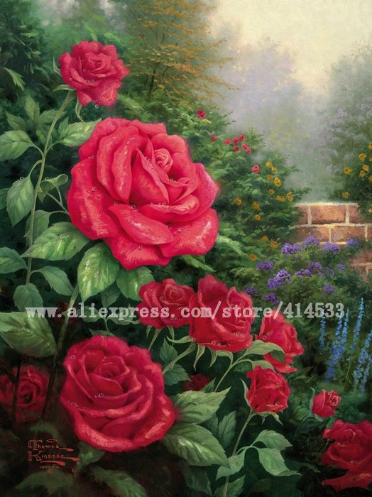 Thomas Kinkade prints original oil painting A perfect red rose flower painting modern wall painting hotel Home decor online(China (Mainland))