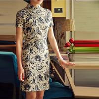 201 vintage fashion linen cheongsam classical elegant design short cheongsam blue and white porcelain cheongsam