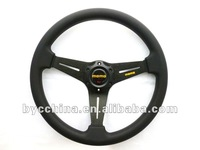 Free Shipping HOT Sale Cheapest MOMO Black PU Flat Steering Wheel 14 inches ,Steering Wheel