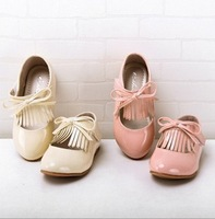 2013 new hot sell high quality Korean Princess shoes Head leather tassels bow children shoes Velcro shoes for children