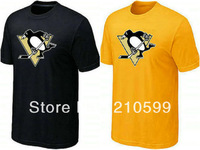 Pittsburgh Penguins t shirt hockey shirt sport brand t-shirt cheap black yellow cotton short sleeve round collar tshirt jersey