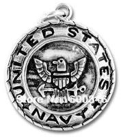 free ship 80pcs a lot  fashion alloy antique silver united states navys charm pendants jewelry