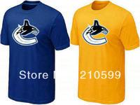 Vancouver tee t shirt hockey shirt sport brand t-shirt cheap blue yellow cotton short sleeve tee round collar tshirt jersey