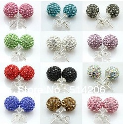 Shamballa Earrings 20pcs(10pairs) Stainless Steel Studs Clay Material With Full Crystal Stud Earrings(China (Mainland))