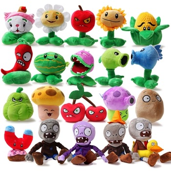 free shipping 10cm-26cm full set good quality plants vs . zoombies plush toy doll belt sucker gift Plants vs Zombies
