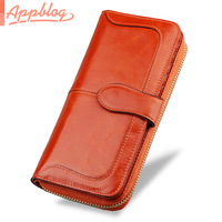 App blog vintage women's wallet female long zipper design genuine leather folder oil cowhide wallet coin purse