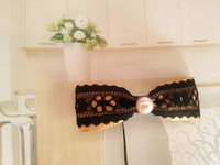 Black lace pearl bow hair accessory hairpin side-knotted clip yb-030