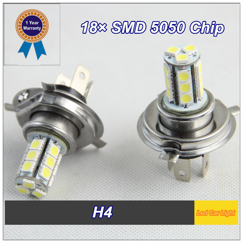 Guaranteed 100% 2 PCS H4 18 SMD 5050 DC 12-24V LED Fog Light Wedge Bulb Lamp Free shipping(China (Mainland))