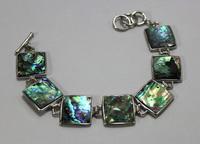 lustrous natural square abalone shell bracelet