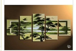 hand-painted wall art Spring forest green fields home decoration abstract Landscape oil painting on canvas 5pc(China (Mainland))